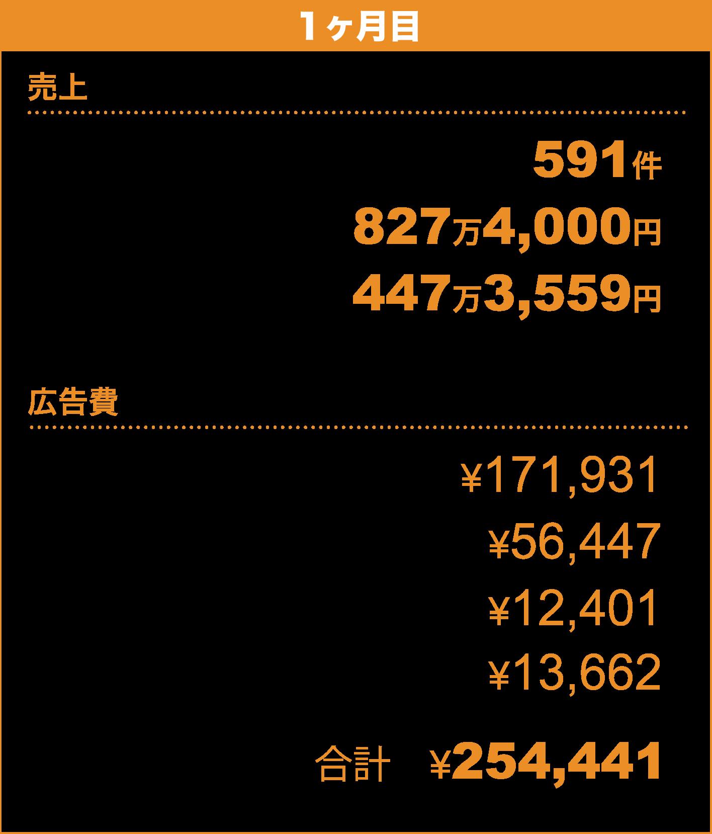 【1ヶ月目】〈売上〉売上件数 591件/売上額 827万4,000円/粗利 447万3,559円〈広告費〉Facebook広告 ¥171,931/GoogleAdwords ¥56,447/Yahoo!スポンサードサーチ ¥12,401/YDN ¥13,662/合計 ¥254,441