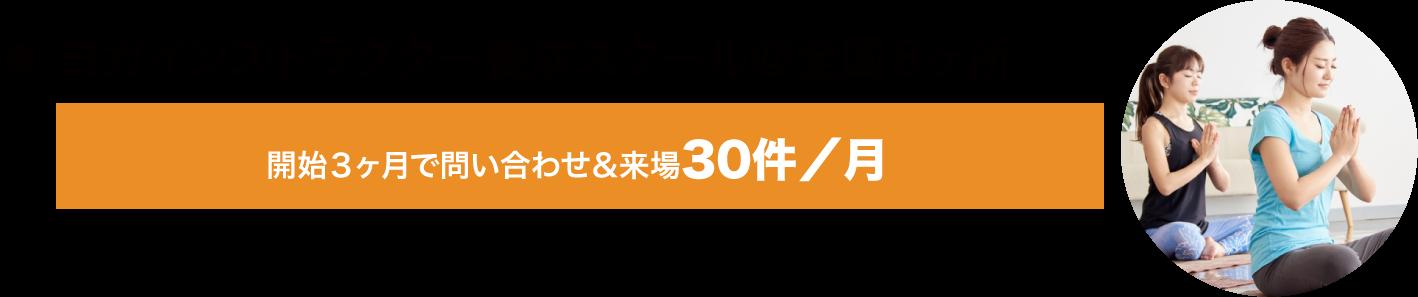 ヨガインストラクター養成スクール@全国8ヶ所 開始3ヶ月で問い合わせ&来場30件/月