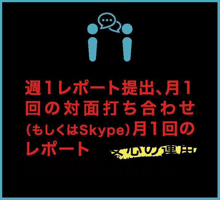 週1レポート提出、月1回の対面打ち合わせ(もしくはSkype)月1回のレポートで安心の運用改善提案を致します。