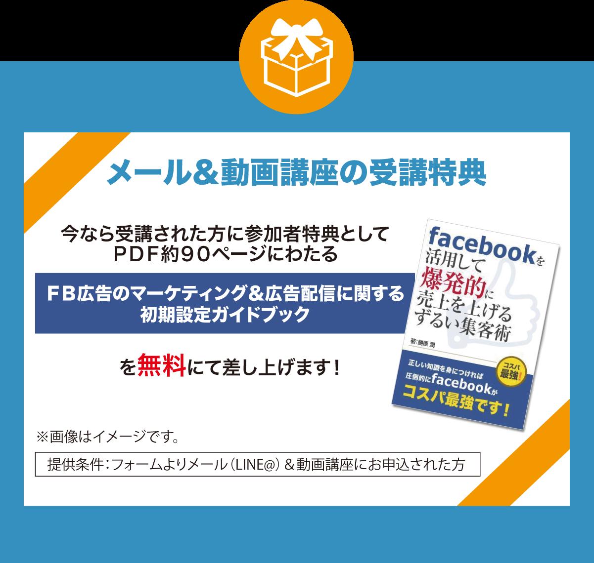 メール&動画講座の受講特典 今なら受講された方に参加者特典としてPDF約90ページにわたる「FB広告のマーケティング&広告配信に関する初期設定ガイドブック」を無料にて差し上げます! ※画像はイメージです。〈提供条件:フォームよりメール(LINE@)&動画講座にお申込された方〉